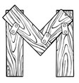 wooden letter m engraving vector image vector image