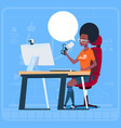 african american girl blogger sit at computer vector image vector image
