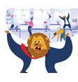 angry boss with lion head vector image vector image