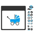 Baby Carriage Calendar Page Icon With Bonus vector image vector image