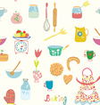 baking seamless pattern with kitchen objects