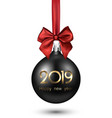 black 2019 new year christmas ball with red satin vector image vector image