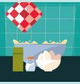 bowl eggs salt preparation cooking vector image vector image