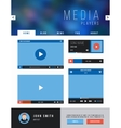 Browser web site page with video player ui vector image