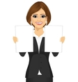 business woman holding two blank papers vector image vector image