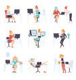 businesswomen working in office set business vector image vector image