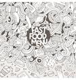 Cartoon doodles fast food frame design vector image vector image