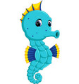 cartoon watercolor seahorse vector image vector image