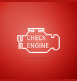check engine icon isolated on red background vector image vector image