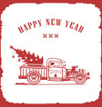 christmas truck side view red color image vector image vector image