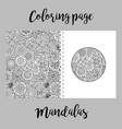 coloring page design with mandalas vector image