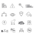 computer security simple black outline icons eps10 vector image