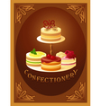 Confectionery sign with four kinds of cakes vector image vector image