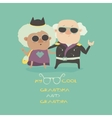 Cool grandma and grandpa wearing in leather jacket vector image vector image