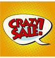 crazy sale comic bubble lettering vector image