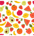 cute seamless pattern with cartoon fruits kawaii vector image
