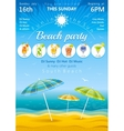 Day beach poster with umbrellas and cocktail icons vector image vector image