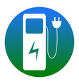 electric car charging station sign white vector image vector image