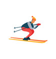 experienced skier on fast skis moving downhill vector image vector image