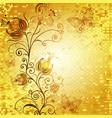 festive golden mosaic frame with vintage flowers vector image