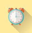 flat icon of retro alarm-clock with long shadow - vector image vector image