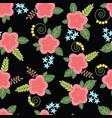 floral pattern flowers leaves berries pattern vector image vector image