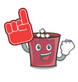 foam finger hot chocolate mascot cartoon vector image vector image