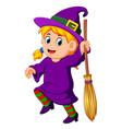 girl witch with a broom vector image
