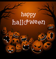 halloween background with scary pumpkin monsters vector image vector image