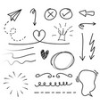 hand drawn set elements on white background vector image vector image