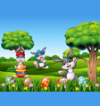happy easter with bunnies in the nature vector image vector image