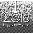Happy New Year 2016 White Snowing Greeting Card vector image vector image