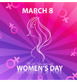 happy women day for lady face with background colo vector image vector image