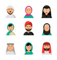 islam people icon web arabic avatars muslim heads vector image