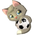 kitten and ball vector image vector image
