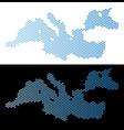 mediterranean sea map hexagon abstraction vector image