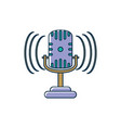 microphone sound noise melody music line and fill vector image