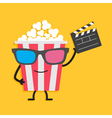 Popcorn box in 3D glasses Character with face legs vector image vector image