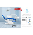 realistic dentist workplace composition vector image vector image