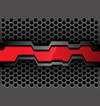 red gray polygon banner on metal hexagon vector image vector image