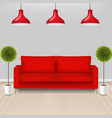 red sofa with lams with grey background vector image vector image