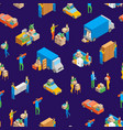 relocation service 3d seamless pattern background vector image