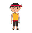 sad cartoon chinese man standing vector image