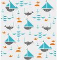sailboats with anchors sharks fish and sea gulls vector image vector image
