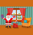santa in room with gifts vector image vector image