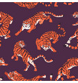 seamless pattern with bengal tigers repeating vector image vector image