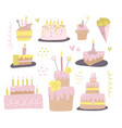set different cakes with candles design vector image
