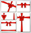 Set of red gift bows for design packing vector image vector image