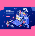 shared protection concept vector image vector image