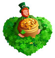 st patrick s day red gnome leprechaun holds pot vector image vector image